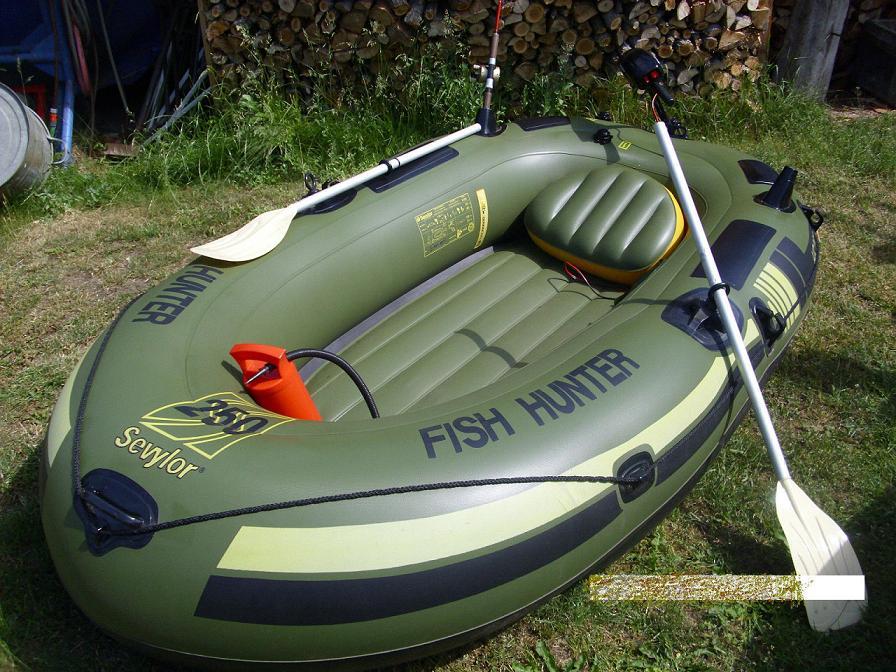 Schlauchboot Sevylor mit Elektromotor Paddel Pumpe Angelboot
